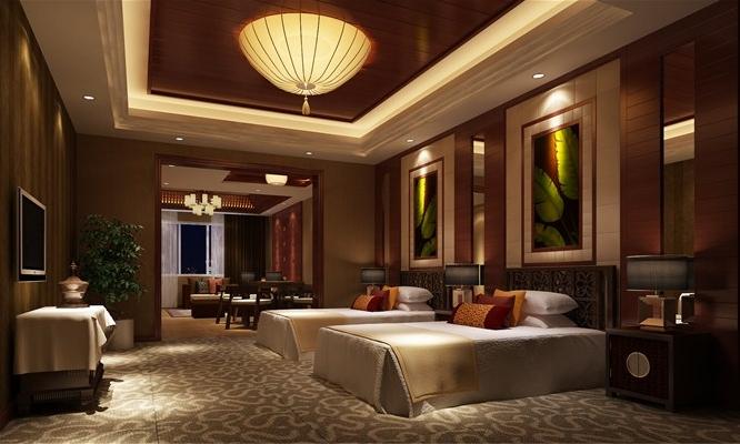 中式酒店装修套房设计效果图